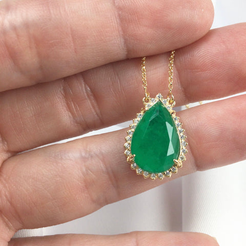 Drop Shaped Emerald Necklace and 18K and Diamondettes