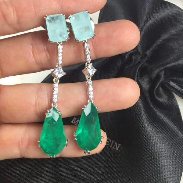 Luxury Earring Blue light and Emerald fusion stone