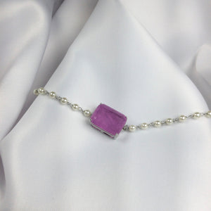 Lavander Fusion Stone Choker and Pearls
