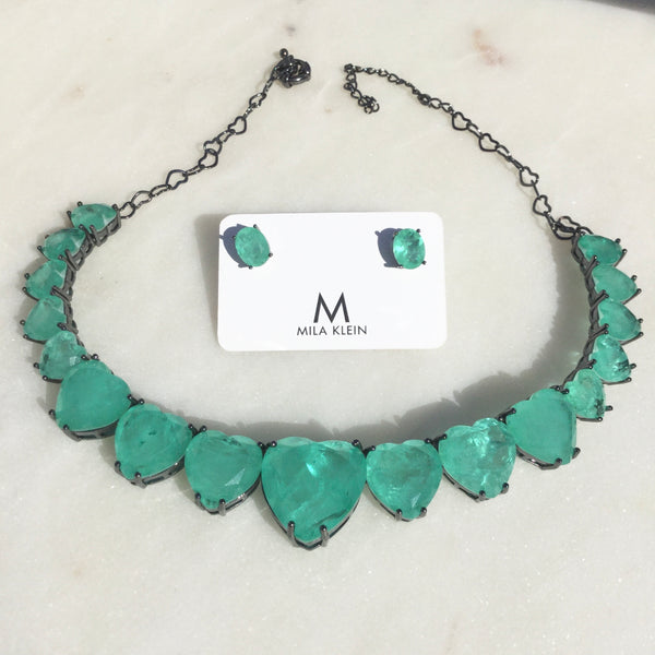Set Choker + Oval Earring Colombian Emerald Fusion
