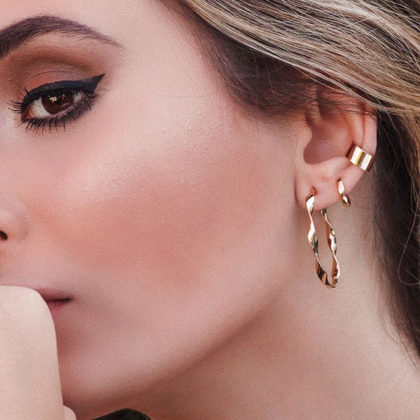 Clip on Ear cuff 18k Gold Plated