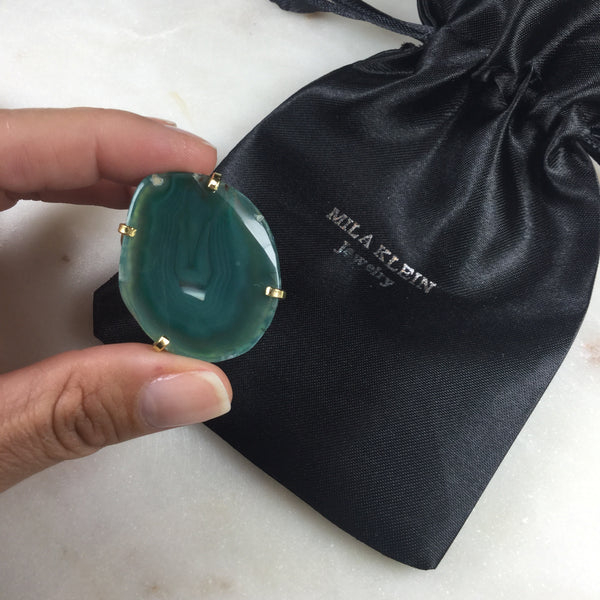 Statement Green agate 18k gold plated arc ring adjustable