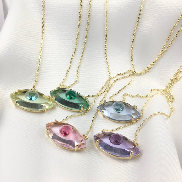 Fancy Evil Eye Necklace Ametista 18k Gold Plated