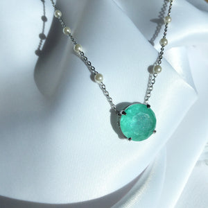 Round Blue Tourmaline Necklace and Pearls
