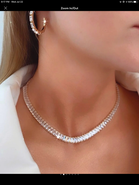 Total Glam Choker Necklace crystal Baguette