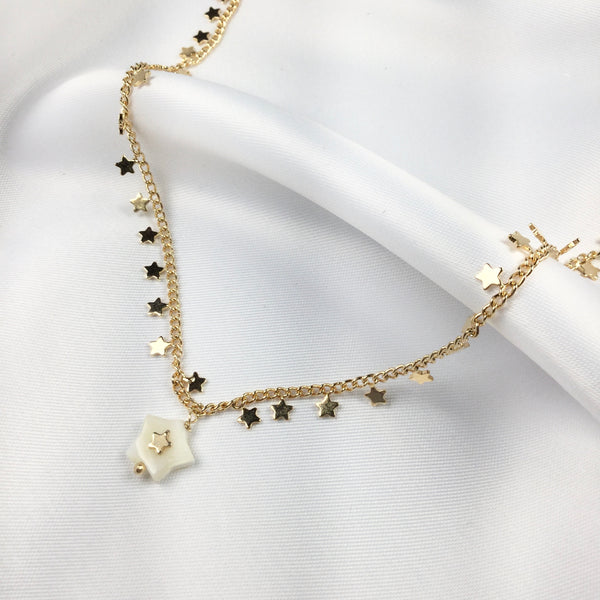 Delicate Star Choker 18k Gold Plated and Mother of Pearl