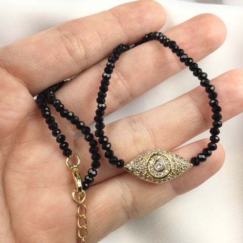 Black Crystal Evil Eye Choker 18k Gold Plated Diamondettes