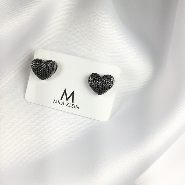 Heart Studded Earrings Micro Zirconia