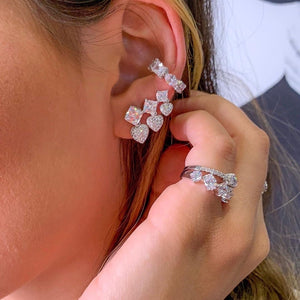 Ear cuff geometric Crystal and White Rhodium