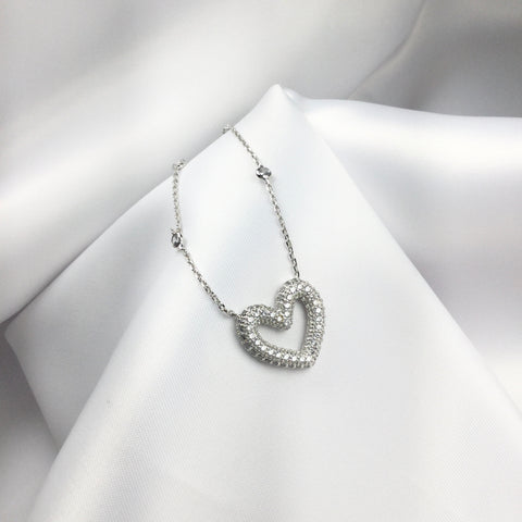 Delicate Choker Necklace White Rhodium Diamondettes