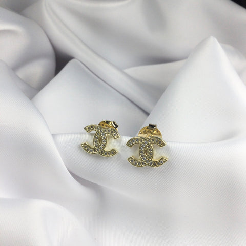 Famous Brand Inspired Medium Stud Earrings 18k Gold Plated