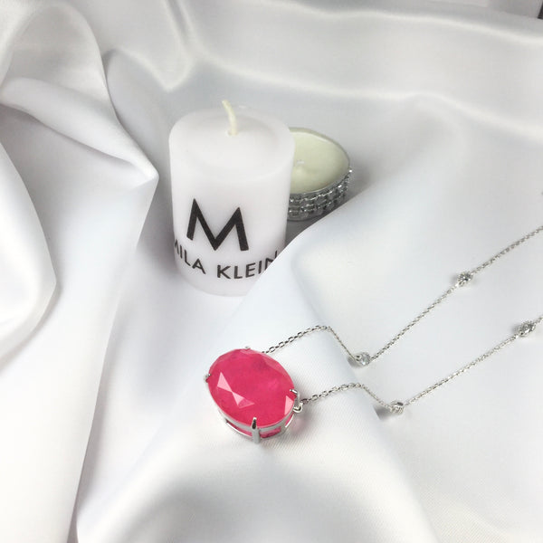 Luxury Oval Pink Tourmaline Necklace