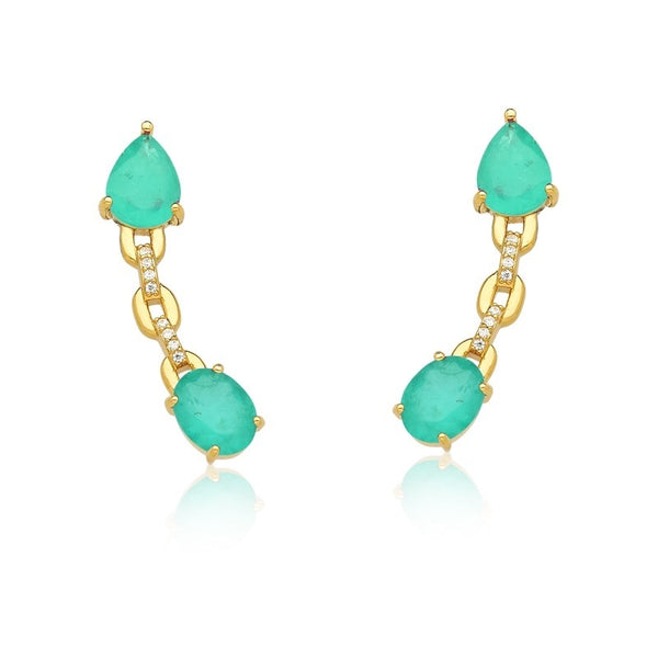 Earring ear hook Ear climbers 18k gold plated tourmaline zirconia