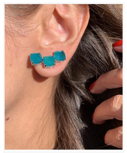 Trio Square Blue Fusion Earrings Ear Hook.