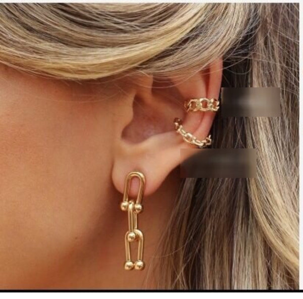 Chain link ear cuff and zirconia 18K Gold Plated