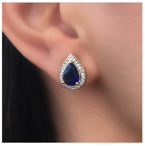 Elegant Drop Earring 18kt gold plated sapphire