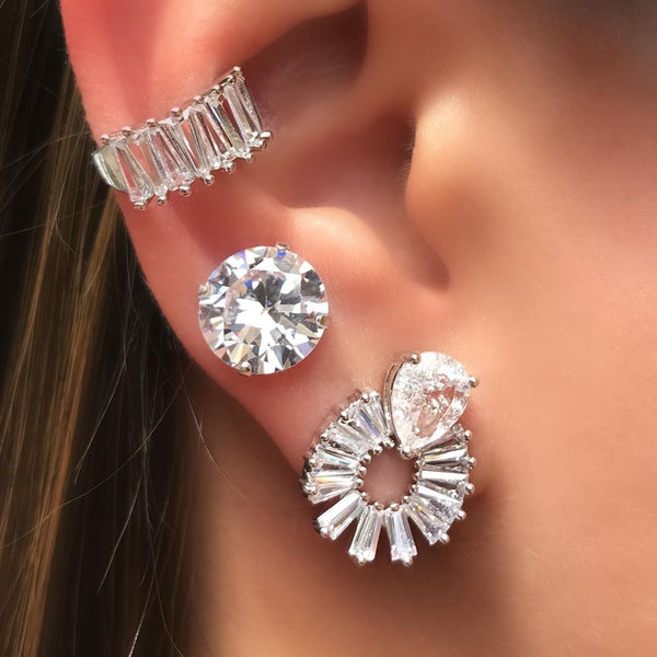 Queen Earring drop baguette Crystal
