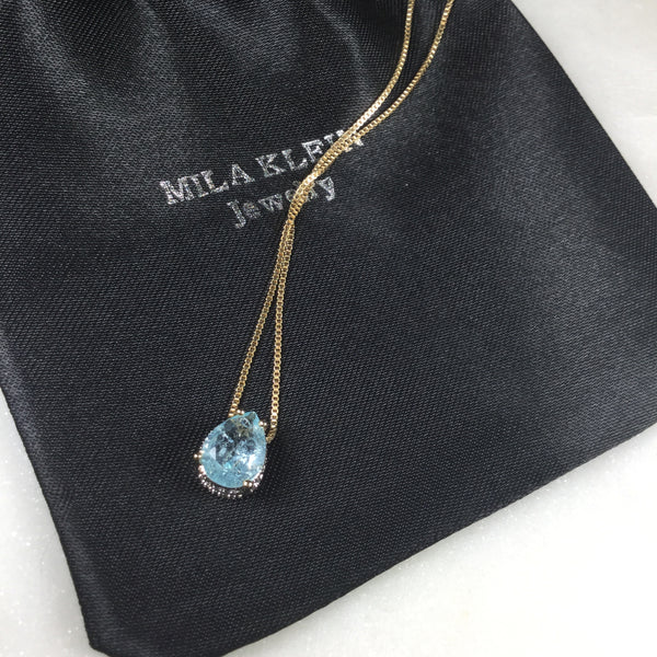 Small Drop Necklace Sky Blue 18k Gold Plated