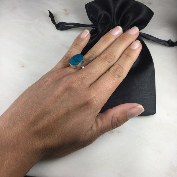Chrysocolla Silver Plated simple band Ring Adjustable