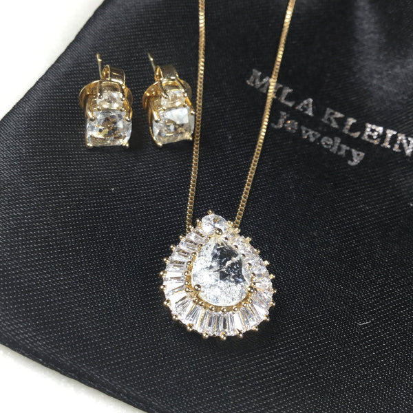 SET Bow necklace 18k Gold plated Crystal fusion Stone Earrings