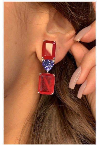 Fancy Earrings Rubellite and Blue Sapphire
