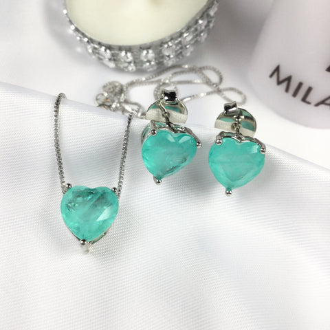 Delicate Set Earrings Necklace Heart Colombian Emerald fusion Stone