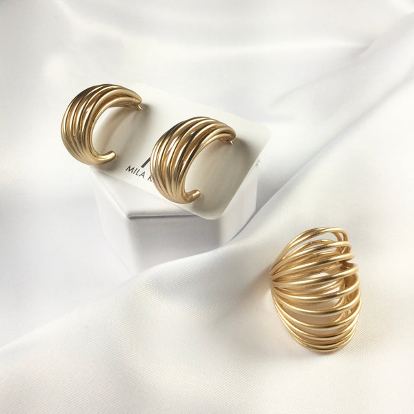 Set Modern Matte Hoop Earrings and Ring 18K Gold Plated