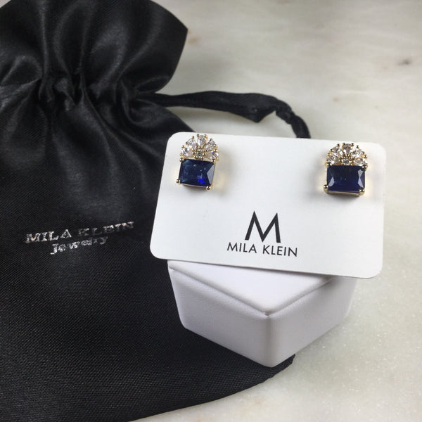 Rectangle sapphire fusion flower earrings 18k gold plated