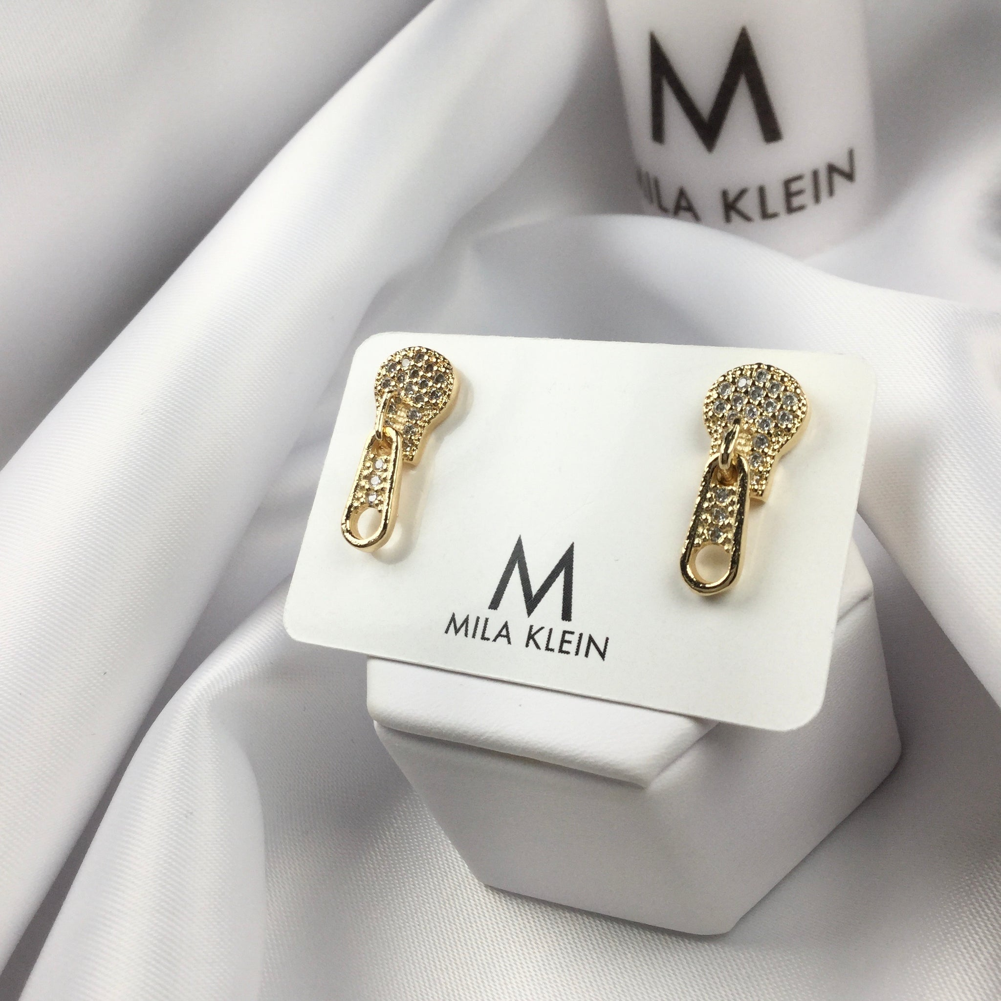 Zipper Studded Earrings 18k Gold Plated