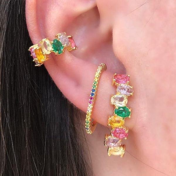 Ear Hook earring 18k Gold plated Rainbow