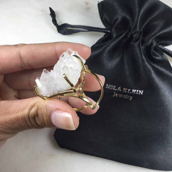 Statement Triangle Clear Quartz 18K gold Plated Arc Ring Adjustable