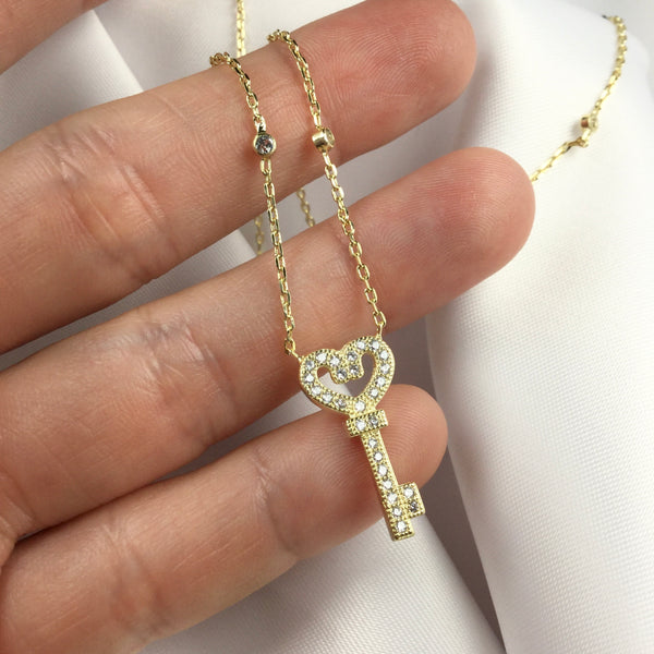 Gold Delicate Key Necklace and Diamondettes
