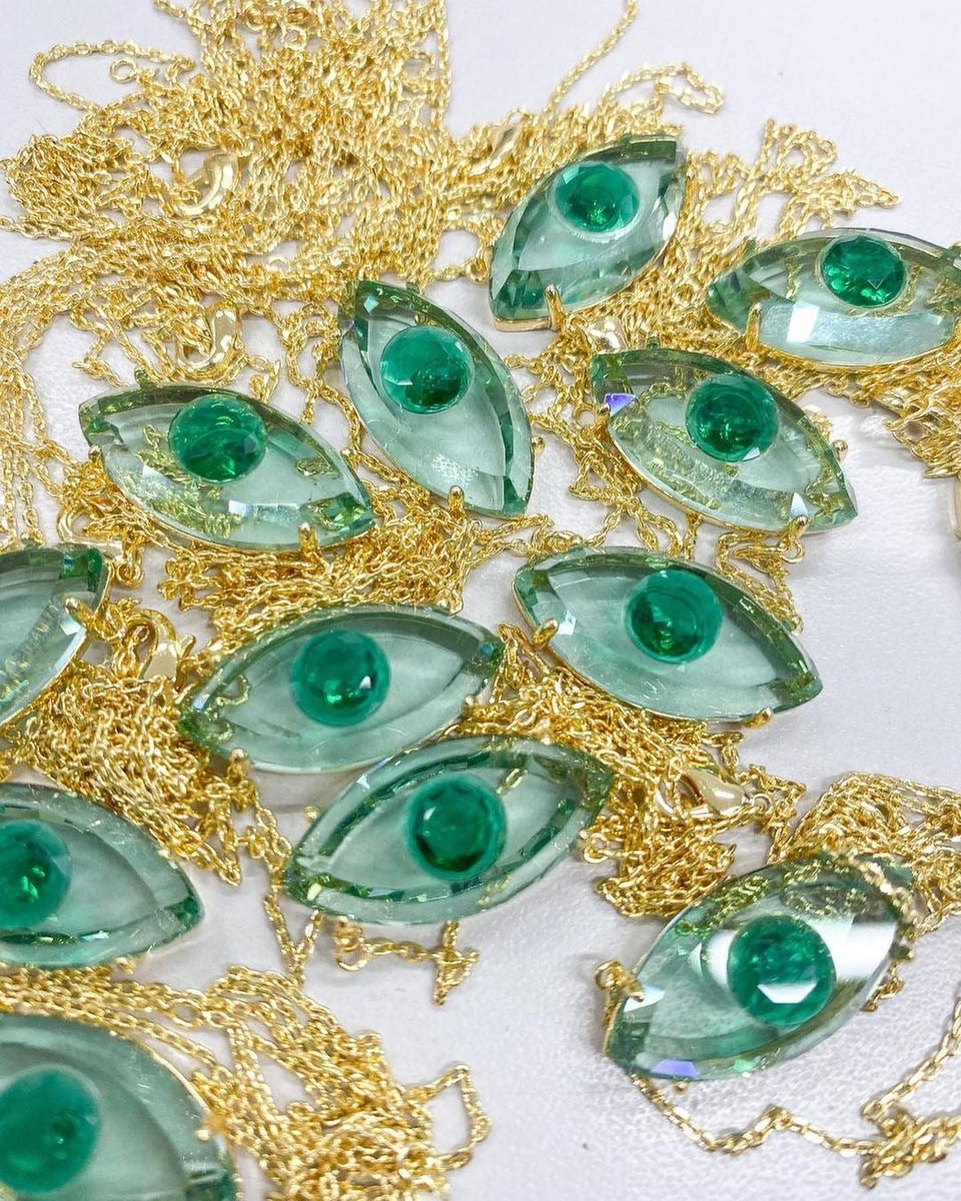 Fancy Evil Eye Necklace Emerald 18k Gold Plated