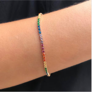 Rainbow thin bracelet 18k gold plated