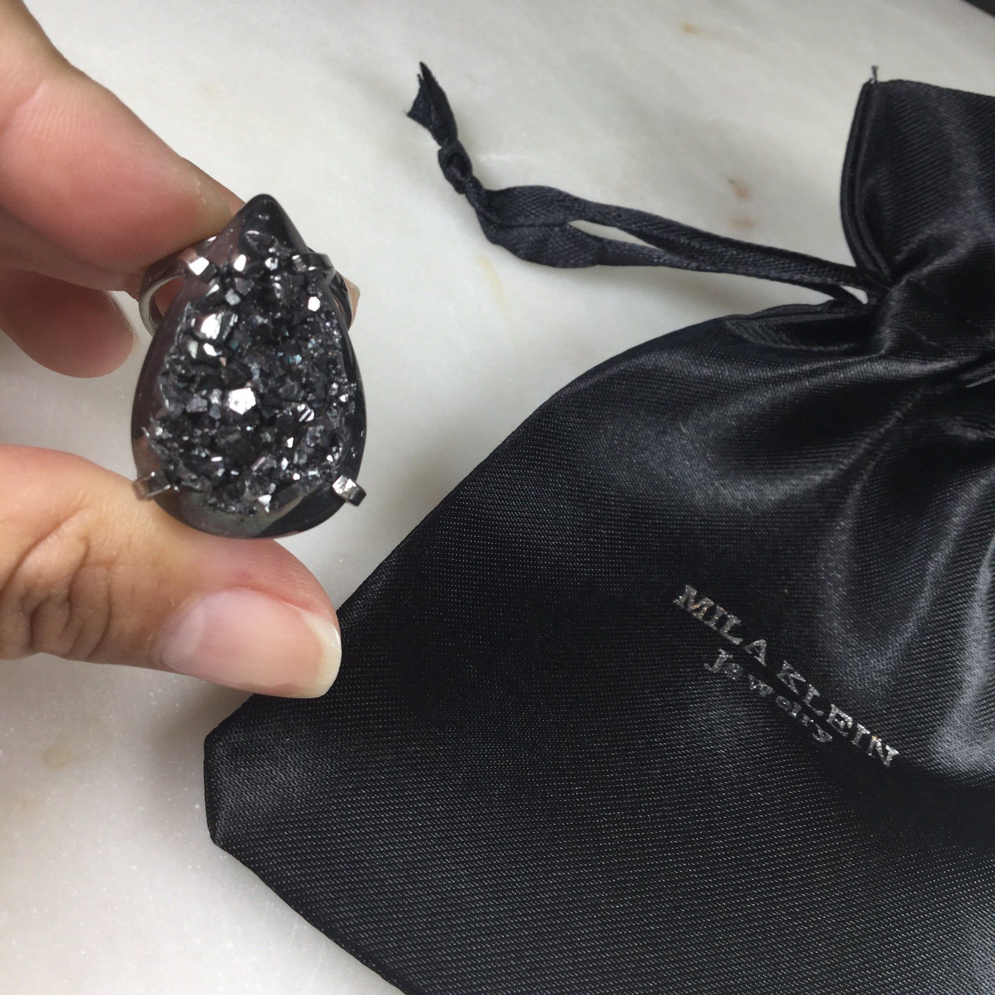 Statement Pear Shape Black metallic Druzy Arc Ring Black Rhodium