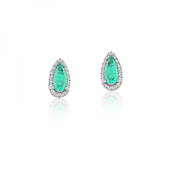 Earring Drop shape tiny Emerald Colombian Fusion