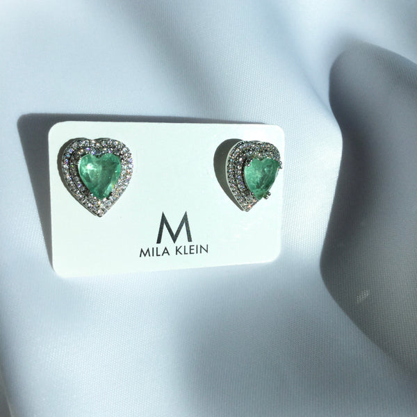 Heart Earrings Greenery stone and diamondettes