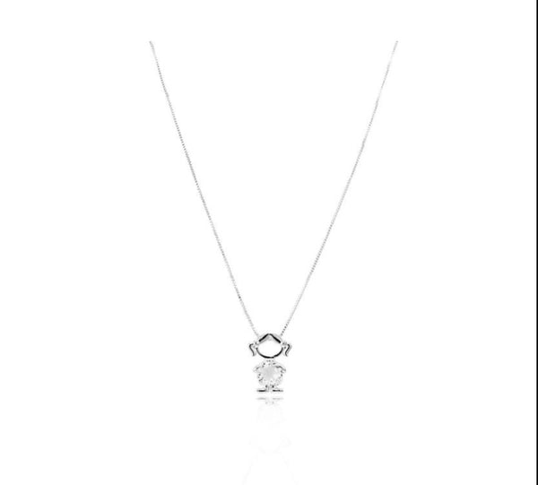 Girl Necklace white rhodium crystal