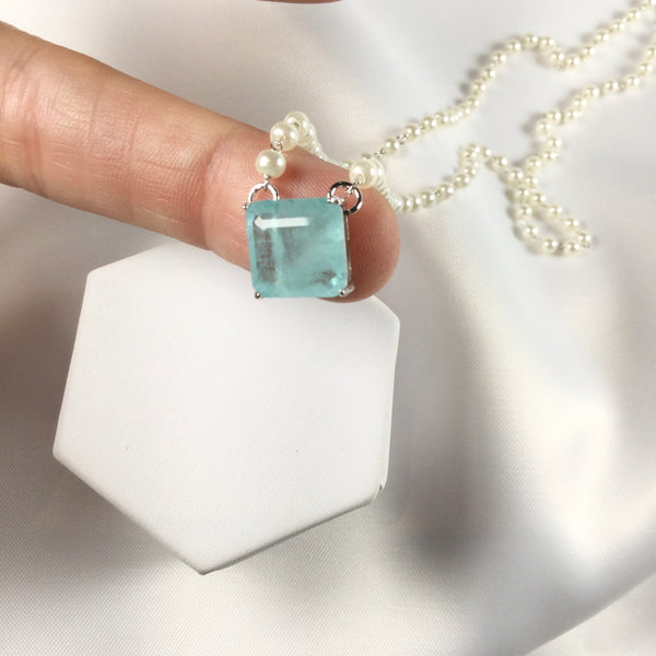 Delicate square light blue fusion stone and pearl