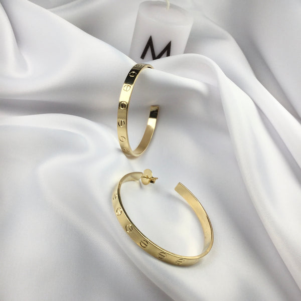 "Famous Brand Inspired Hoop Earrings 2""inch 18k Gold Plated"