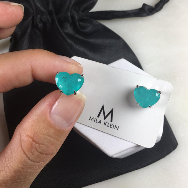 Blue Heart fusion stone earring white rhodium