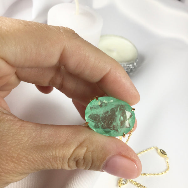 Luxury Oval Greenery Stone 18k Gold Plated Necklace and Crystal
