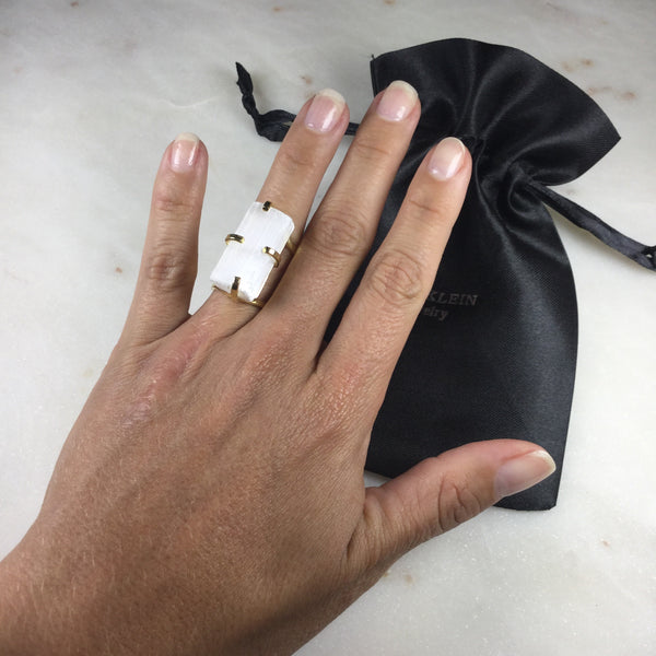 Statement Selenite 18k Gold Plated Arc Ring Adjustable