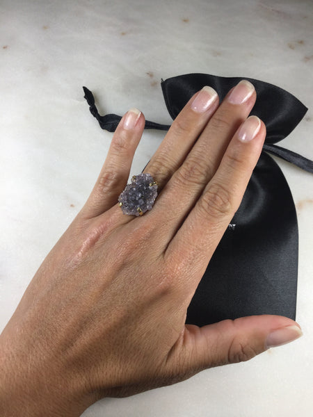 Delicate Druzy simple band ring 18k gold plated Adjustable