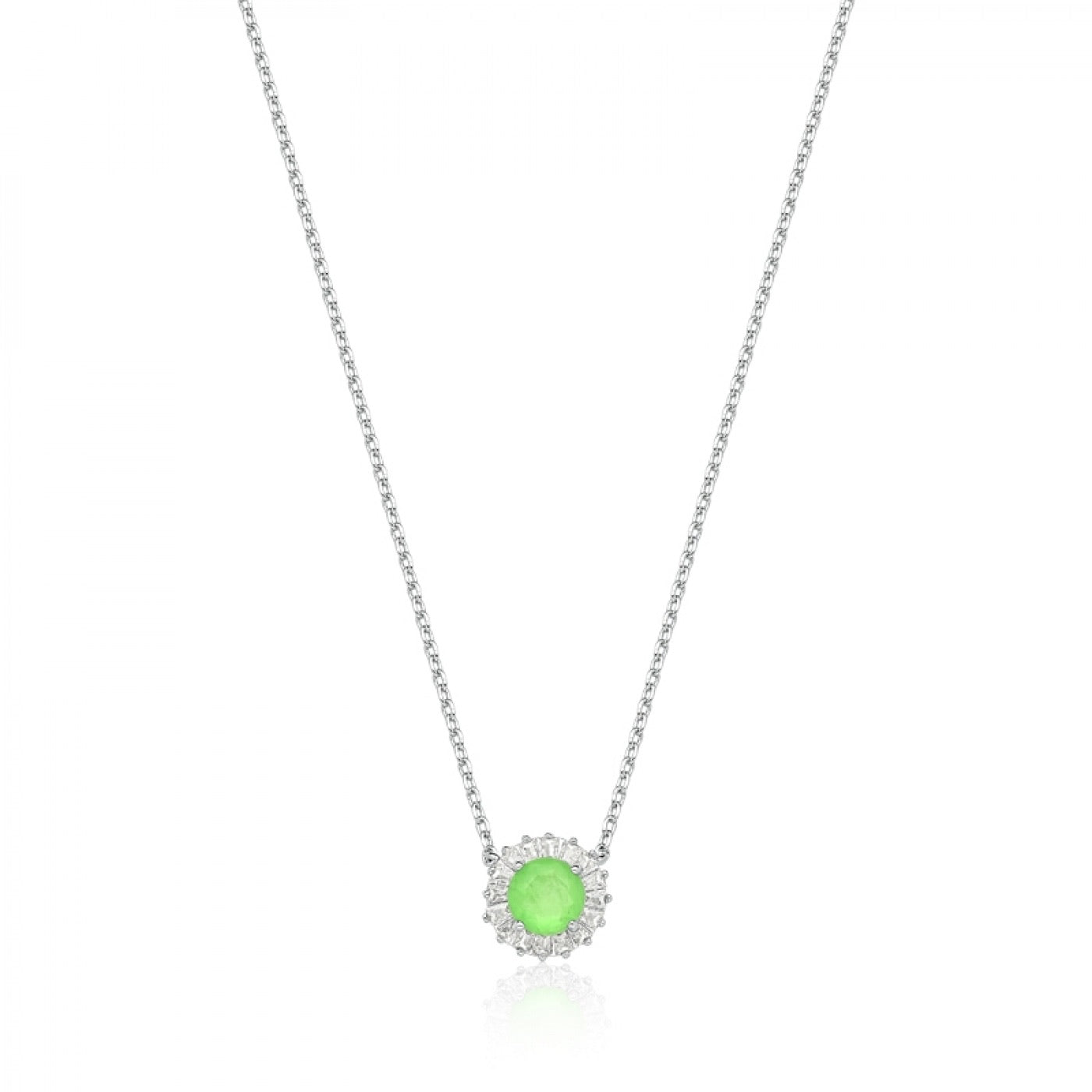 Necklace circle green glow fusion and baguettes