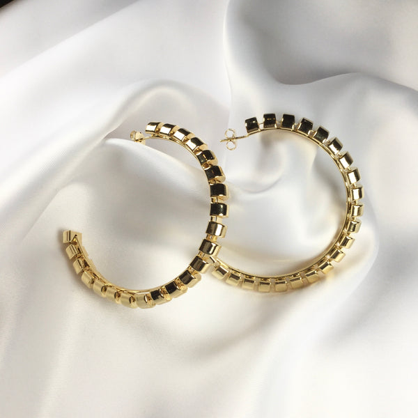 "Maxi Hoop Earrings 18K gold plated 2,75"" inch"