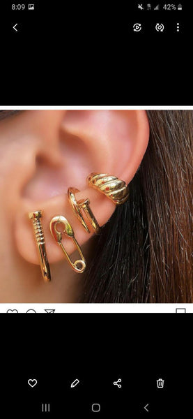 Croissant One Side Clip On Ear Cuff 18k Gold Plated