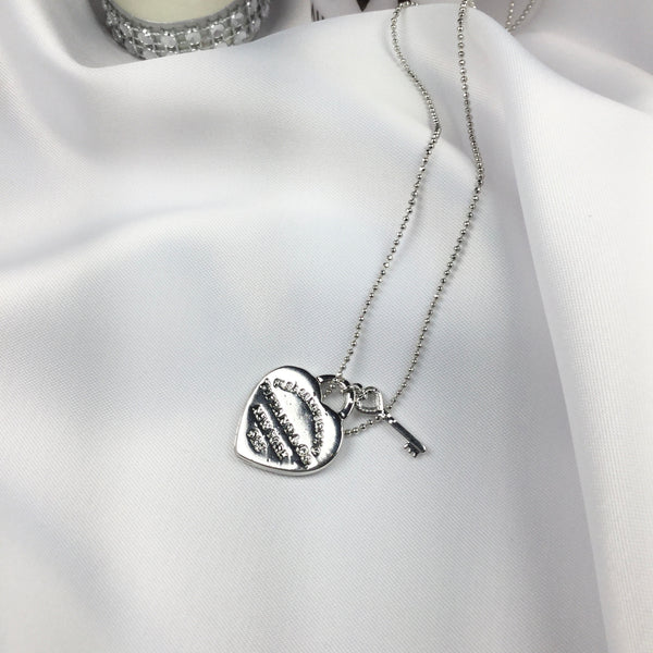 Famous Brand Inspired Heart Necklace White Rhodium