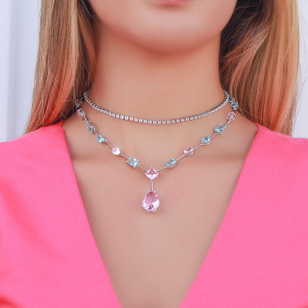 Set Square earrings and Necklace choker Candy Colors