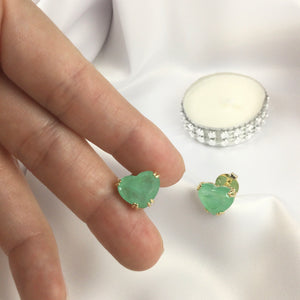 Heart Earrings Greenery Stone 18K Gold Plated
